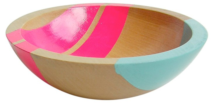 "12"" Neon Wood Serving Bowl, Neon Pink"
