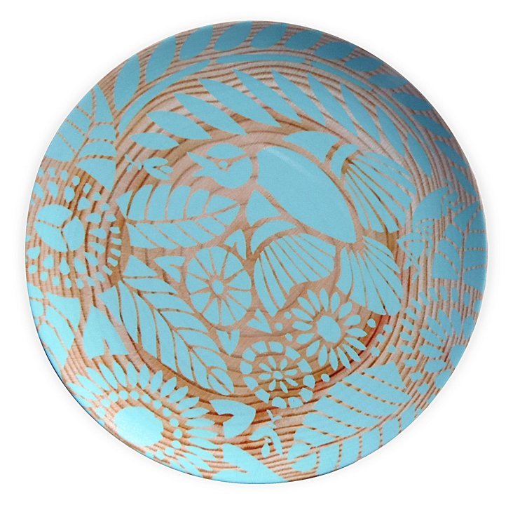 Indian Lace Wood Grain Plate, Teal