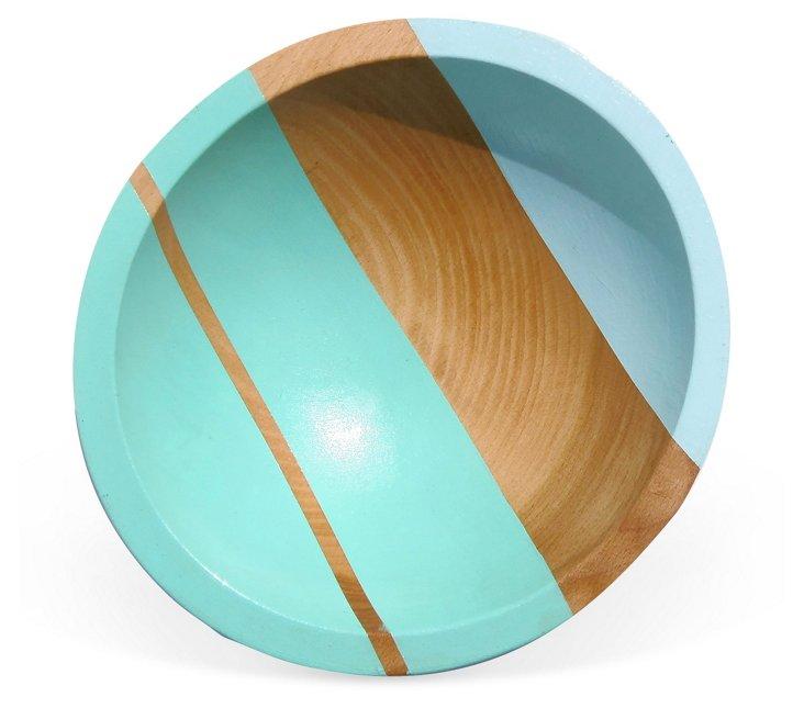 Neon Wood Salad Bowl, Ocean Blue
