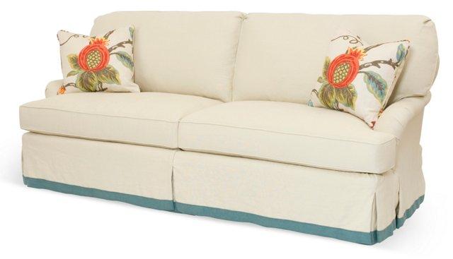 """Grady 86"""" Linen Sofa, Khaki/Blue"""