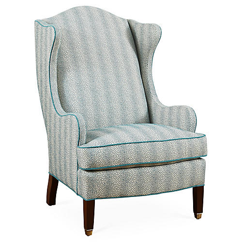 Caden Wingback Chair, Peacock Stripe
