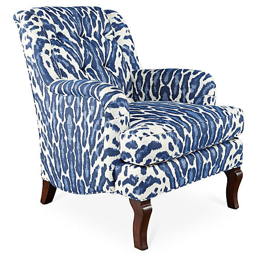 Avon Club Chair, Indigo/White