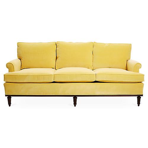 """Garbo 85"""" Sofa, Canary Velvet"""