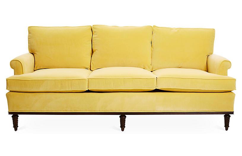 Garbo Sofa, Canary Velvet