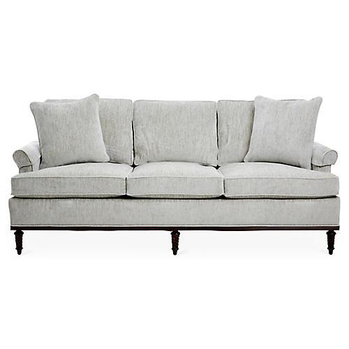 Garbo Sofa, Gray Chenille