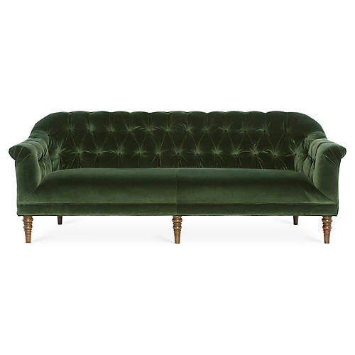 Gentry Sofa, Forest Green Velvet