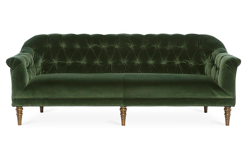 Gentry Sofa, Forest Green Velvet