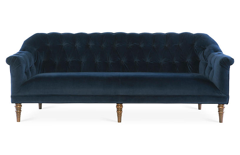Gentry Sofa, Navy Velvet