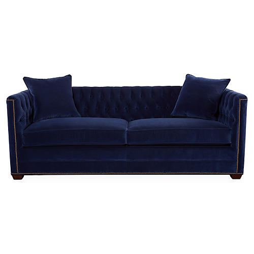 "Ames 86"" Tufted Sofa, Lapis Blue Velvet"