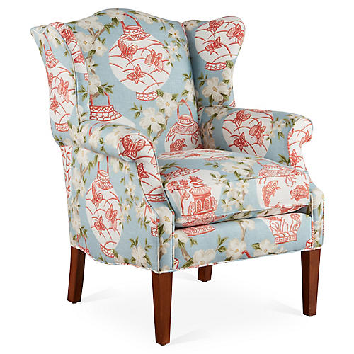Bradford Wingback Chair, Blue/Pink Linen