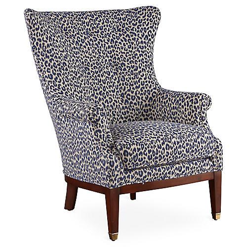 Callahan Wingback Chair, Navy