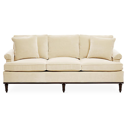 "Garbo 85"" Sofa, Cream Velvet"