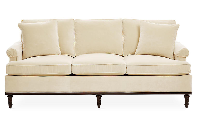 Garbo Sofa Cream Velvet One Kings Lane