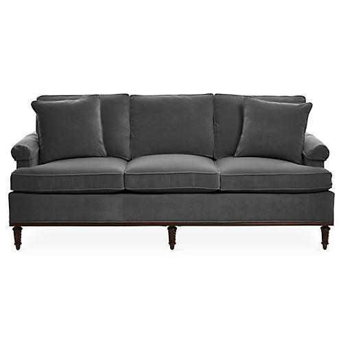 "Garbo 85"" Sofa, Charcoal Velvet"