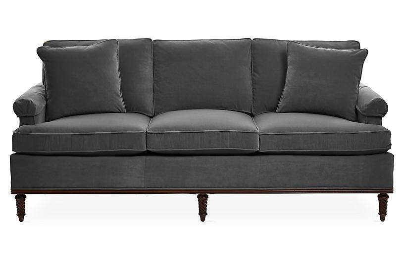 Garbo Sofa, Charcoal Velvet