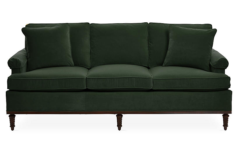 Garbo Sofa, Forest Velvet