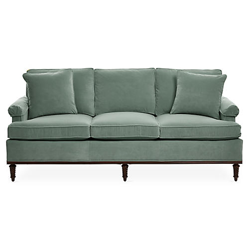 Garbo Sofa, Sage Velvet