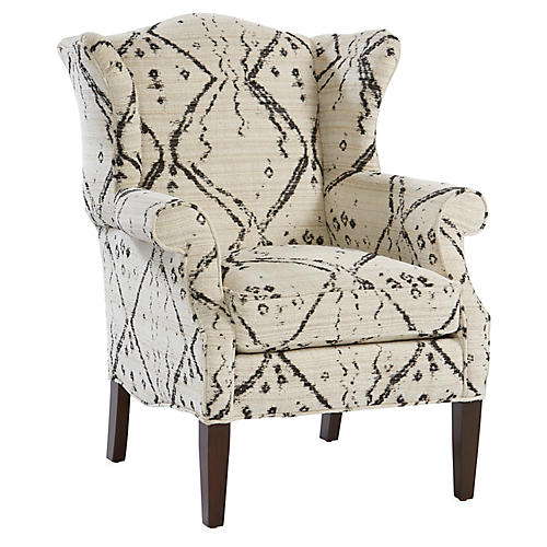 Bradford Wingback Chair, Ivory/Black