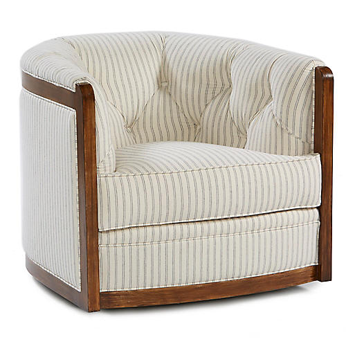 Everett Swivel Chair, Ivory/Indigo
