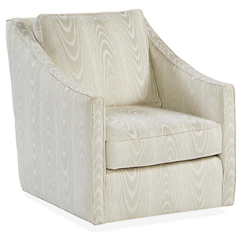 Baron Swivel Club Chair, Ivory/Gray Crypton
