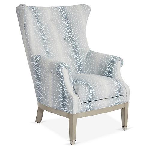 Callahan Wingback Chair, Frost Linen