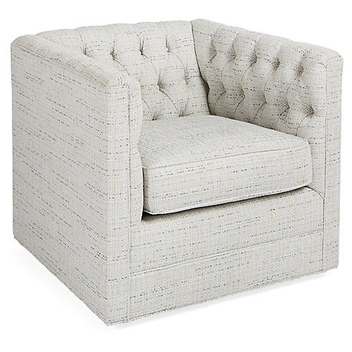 Beaumont Swivel Club Chair, Frost