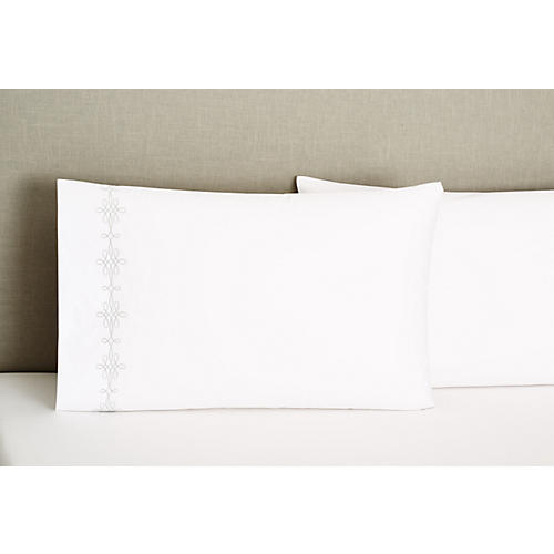 S/2 Bernini Standard Pillowcases, Silver