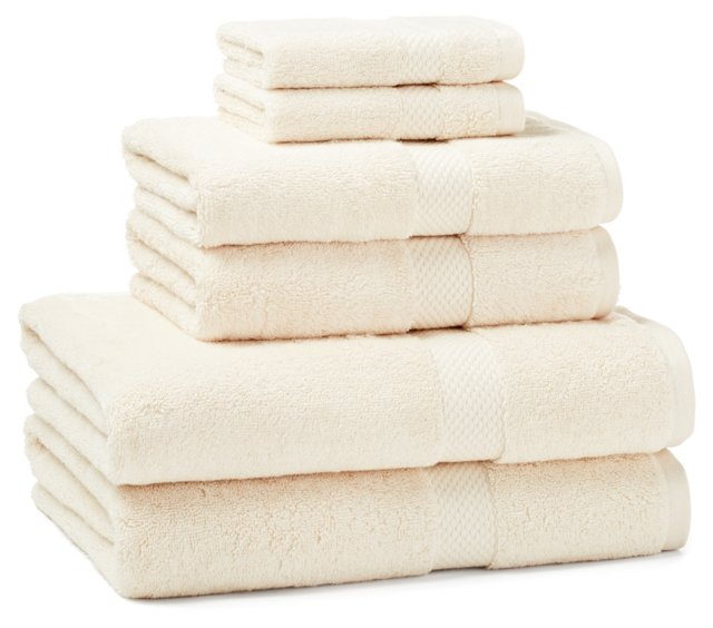 6-Pc Towel Set, Cream