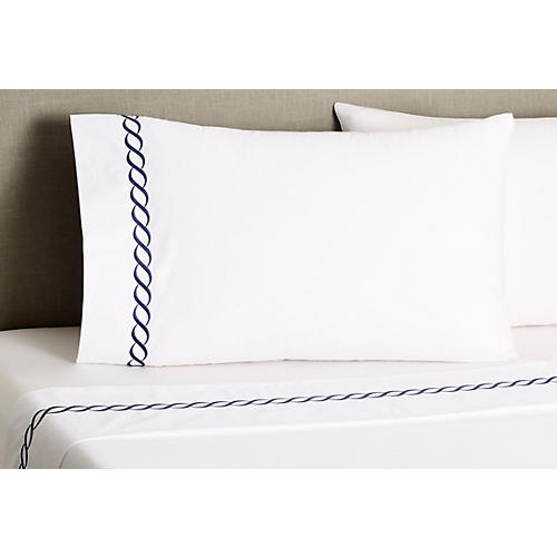 Classic Chain Pillowcases, Navy