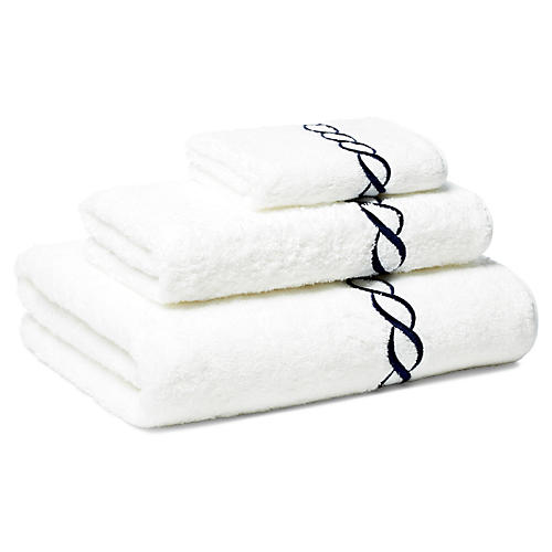 Venezia 3-Pc Towel Set, Navy