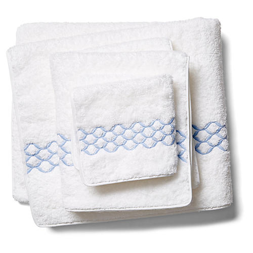Cleo Towel Set, White/Blue