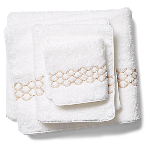 Cleo Towel Set, White/Champagne