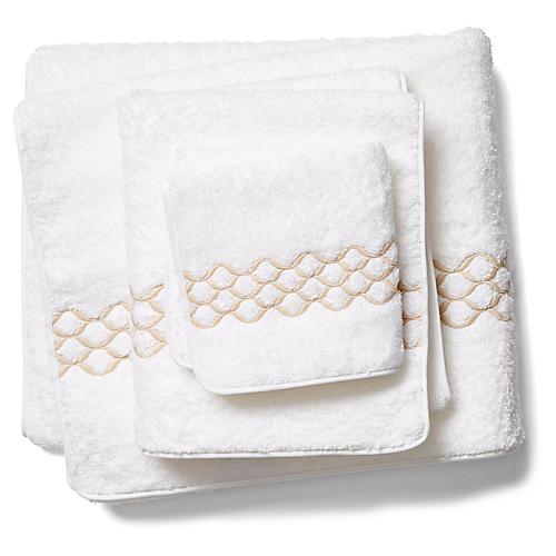 Cleo Towel Set, White/Champagne