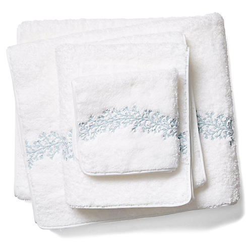 3-Pc Odessa Towel Set, Opal/White