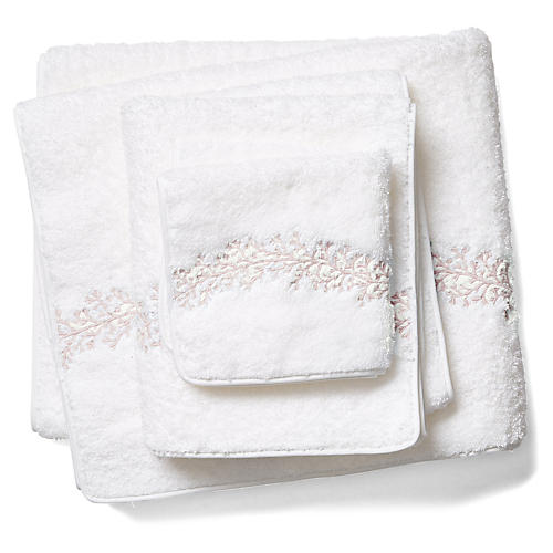 3-Pc Odessa Towel Set, Blush/White