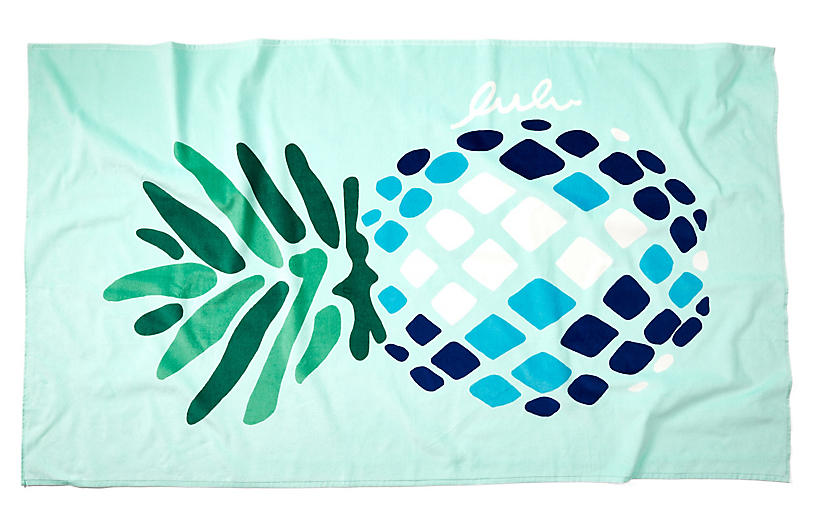 Pineapple Beach Towel Aqua Poolside Style Outdoor Essentials