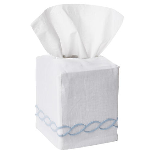 Venezia Tissue-Box Cover, Light Blue