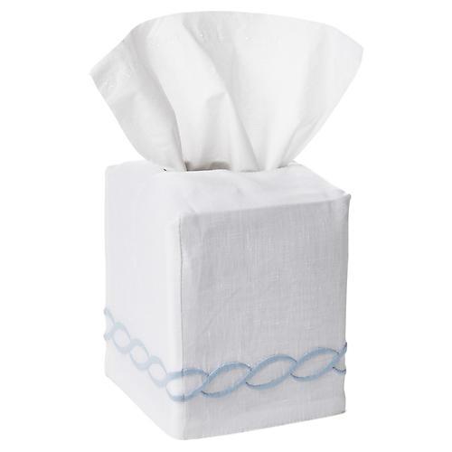 Venezia Tissue-Box Cover, Light Blue