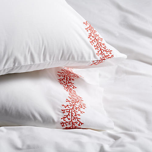 S/2 Odessa Pillowcases, Coral