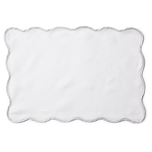 S/4 Wave Place Mats, White/Silver