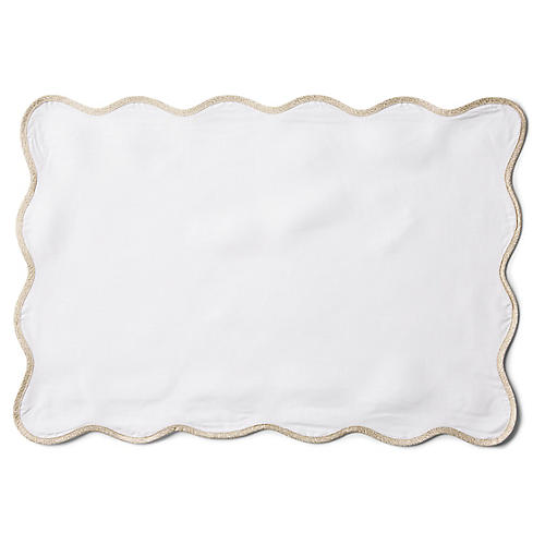 S/4 Wave Place Mats, White/Gold