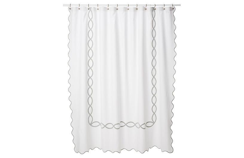 Gianna Shower Curtain Silver