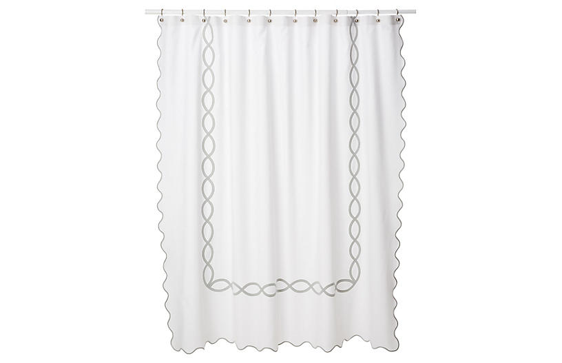 Gianna Shower Curtain Silver