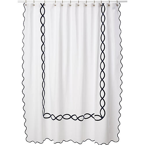 Gianna Shower Curtain, Navy