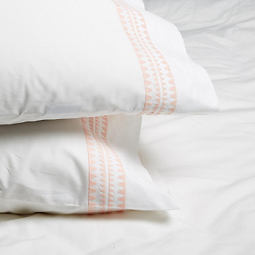 S/2 Seychelles Standard Pillowcases, Blush