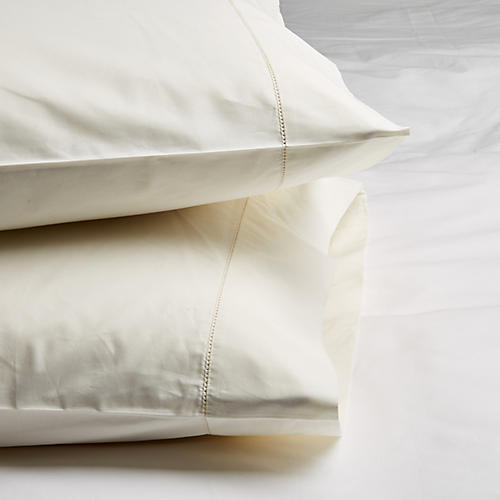 S/2 Vittorio Pillowcases, Ivory