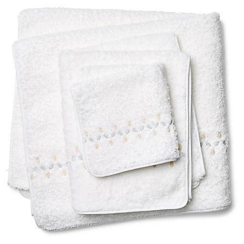 3-Pc Petala Towel Set, Silver/Champagne