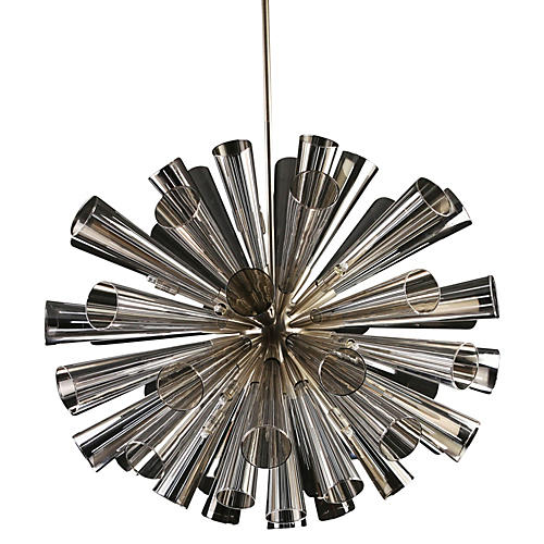 "30"" Flute 18-Light Chandelier, Gray"