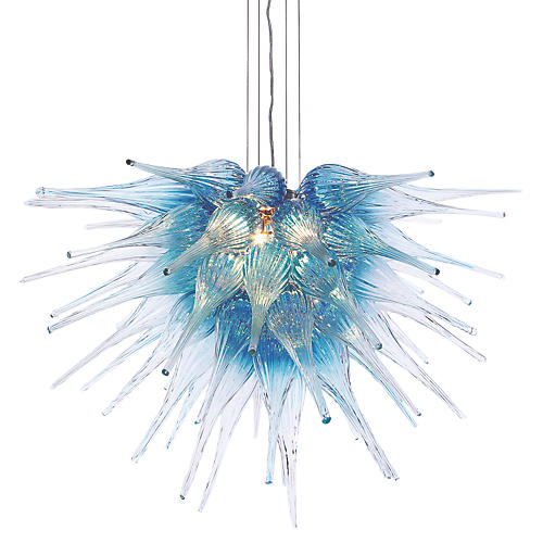 "30"" Starburst Chandelier, Blue"