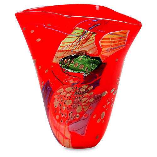 """16"""" Color Mosaic Art Glass Vase, Red"""
